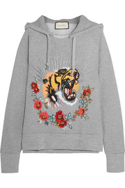 Gucci Embroidered embellished cotton-jersey hooded top