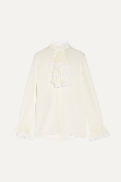 Gucci - Ruffled Lace-trimmed Silk-georgette Blouse - Ivory