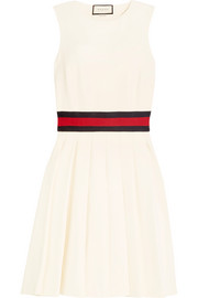 Jersey-trimmed pleated twill mini dress