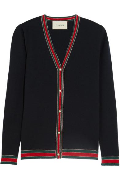 Gucci - Metallic-trimmed Merino Wool Cardigan - Navy