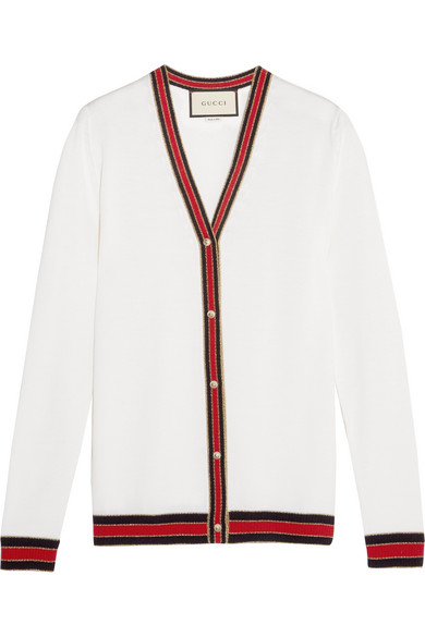 Gucci - Striped Wool Cardigan - Ivory