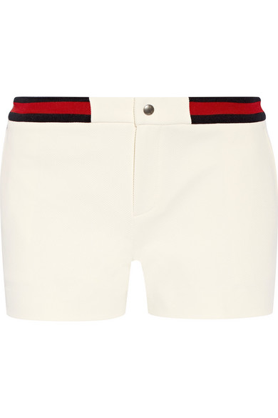 Gucci - Ribbed Knit-trimmed Twill Shorts - Ivory