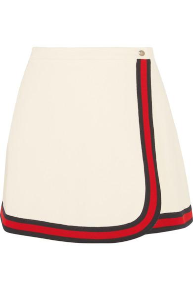 Gucci - Stripe-trimmed Twill Mini Skirt - Ivory