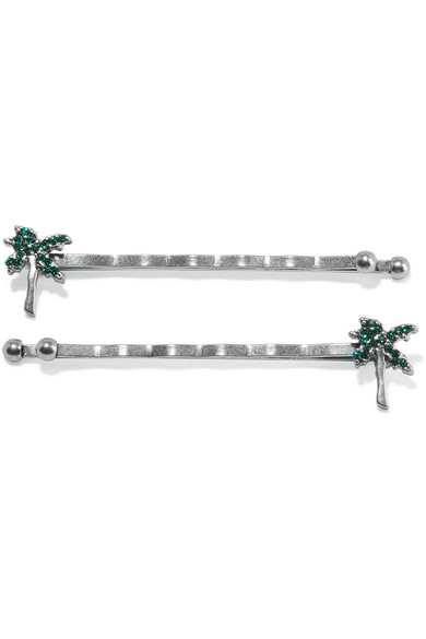 marc jacobs female marc jacobs set of two crystalembellished silvertone hair slides one size
