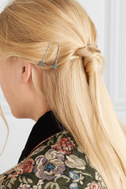 Set of two crystal-embellished silver-tone hair slides