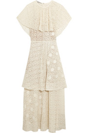 Stella McCartney Appliquéd tiered cotton-blend lace gown