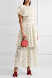 Appliquéd tiered cotton-blend lace gown