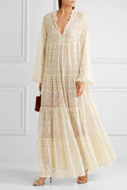 Stella McCartney Erika tiered cotton-blend lace maxi dress