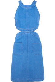 Cutout stretch-denim dress