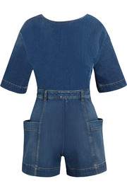 Open-back denim playsuit