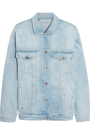 Oversized distressed stretch-denim jacket
