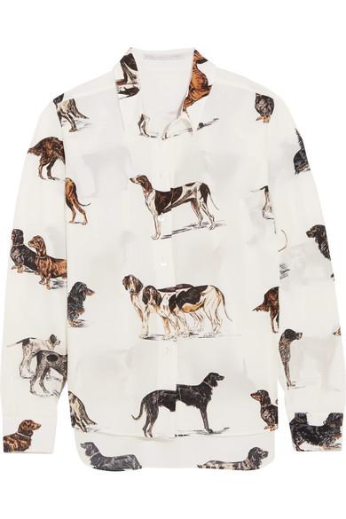 Printed Dog Shirt in Silk