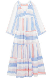 Tiered striped cotton-blend maxi dress