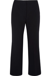 Cropped stretch-wool piqué flared pants