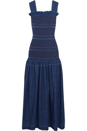 Stella McCartney Ruffled smocked denim maxi dress