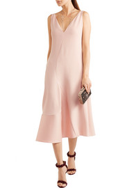 Asymmetric stretch-cady and sateen dress