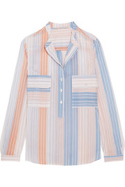 Striped cotton-blend blouse