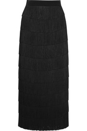 Stella McCartney Tiered fringed silk crepe de chine maxi skirt