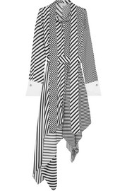 Monse Asymmetric striped silk-twill midi dress