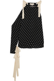 Monse One-shoulder polka-dot silk-crepe top