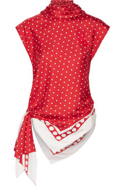 Monse Asymmetric polka-dot silk-twill top