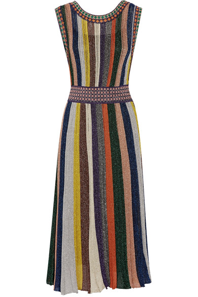 Missoni - Convertible Wrap-effect Pleated Metallic Knitted Dress - Black