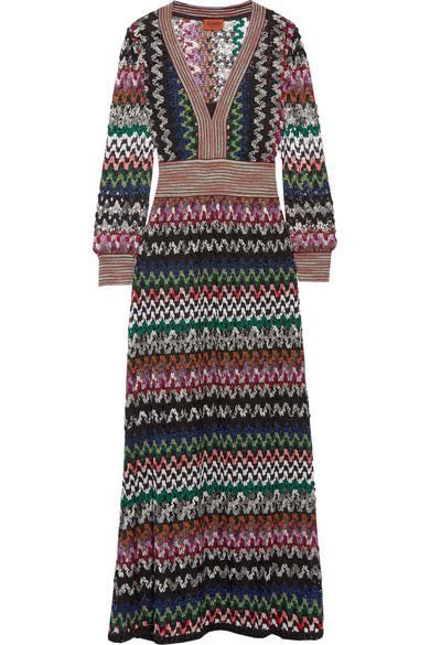 Missoni - Metallic Crochet-knit Maxi Dress - Black