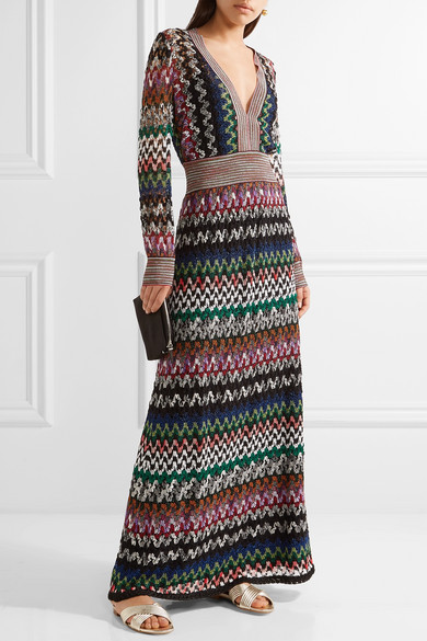 Missoni | Metallic crochet-knit maxi dress | NET-A-PORTER.COM