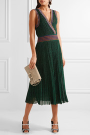 Missoni Convertible wrap-effect pleated metallic crochet-knit midi dress