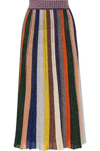Missoni - Pleated Metallic Striped Knitted Skirt - Yellow
