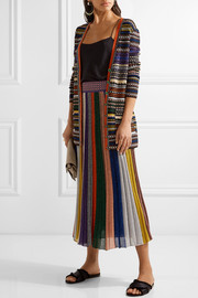 Missoni Pleated metallic striped knitted skirt