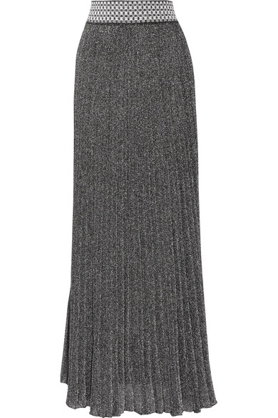 Missoni - Pleated Metallic Knitted Maxi Skirt - Silver