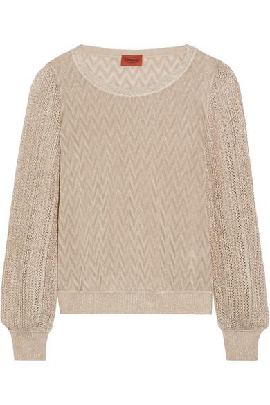 Missoni - Metallic Crochet-knit Sweater - Bronze