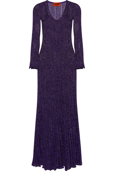 Missoni - Pleated Metallic Knitted Gown - Purple