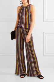 Missoni Striped metallic crochet-knit halterneck top