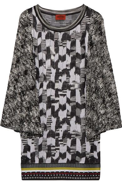 Missoni - Crochet-knit Paneled Stretch-knit Mini Dress - Black