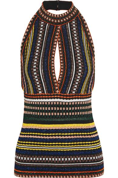 Missoni - Metallic Ribbed Crochet-knit Halterneck Top - Blue