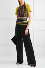 Missoni Metallic ribbed crochet-knit halterneck top
