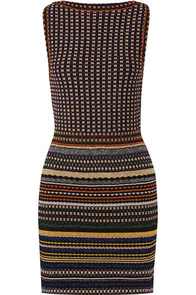 Missoni - Striped Metallic Crochet-knit Mini Dress - Navy