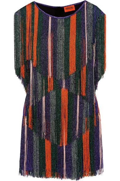 Missoni - Fringed Metallic Crochet-knit Mini Dress - Purple