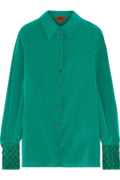 Missoni - Metallic Crochet Knit-trimmed Stretch Silk-blend Shirt - Green