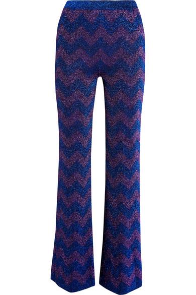 Missoni - Metallic Knitted Flared Pants - Purple