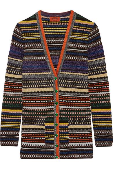 Missoni - Striped Metallic Stretch-knit Cardigan - Purple
