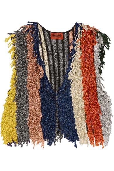 Missoni - Cropped Fringed Metallic Stretch-knit Vest - Orange