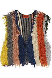 Missoni Cropped fringed metallic stretch-knit vest