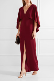 Halston Heritage Cape-back crepe gown