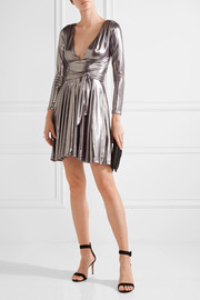 Halston Heritage Draped stretch-lamé mini dress