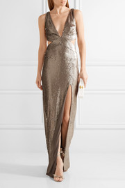 Halston Heritage Cutout sequined stretch-jersey gown