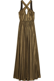 Cutout pleated lamé gown