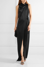 Halston Heritage Draped wrap-effect satin-crepe gown